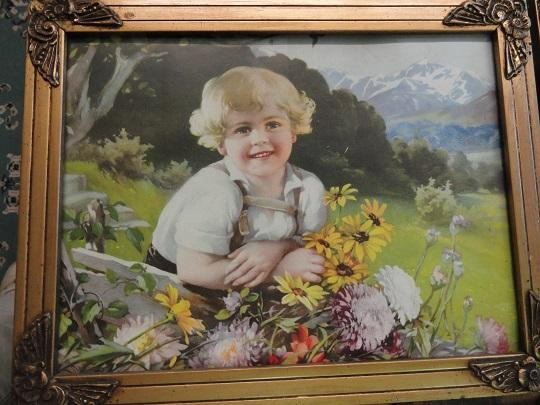 1930's lithograph small boy w/flowers